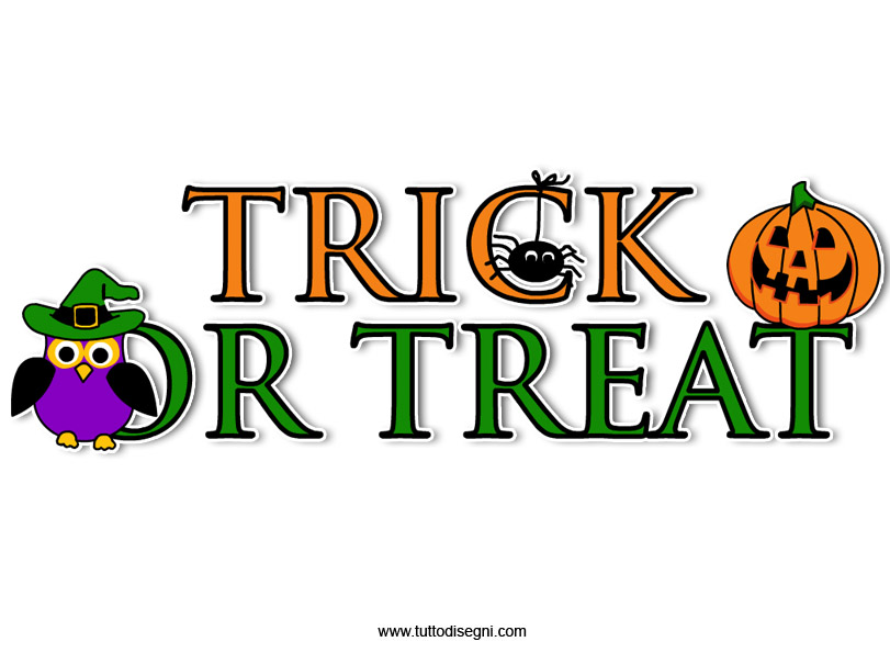 Trick or treat scritta da stampare for Decorazione halloween ponte di san francisco