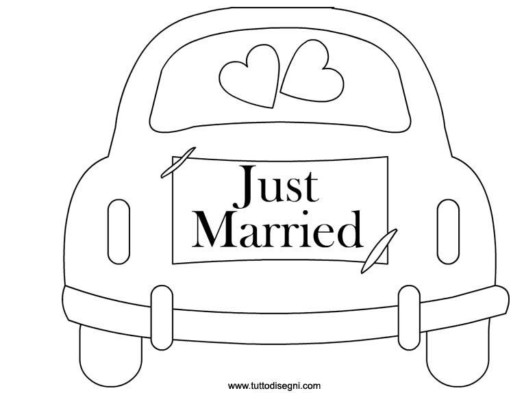 Super Macchina con scritta Just Married da colorare - TuttoDisegni.com PI18