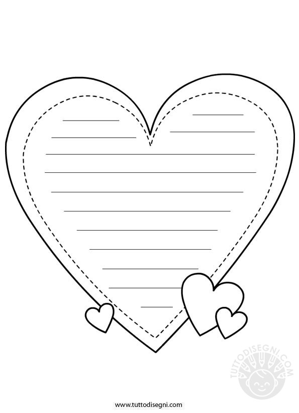 San valentino carta da lettere da colorare for Disegni da colorare dei cuori