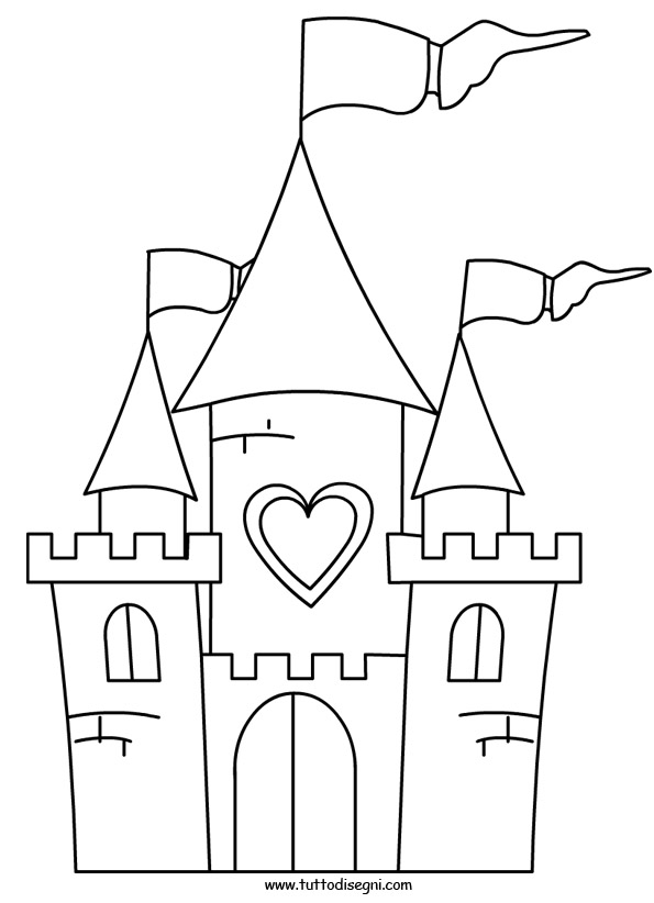 Castello da colorare for Disegni disney facili da disegnare