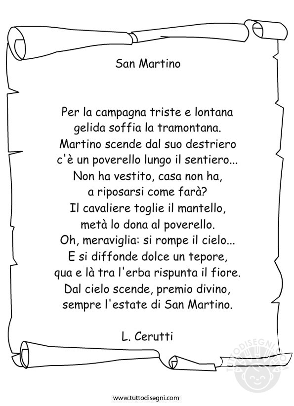 Poesia san martino for Immagini da colorare di san martino