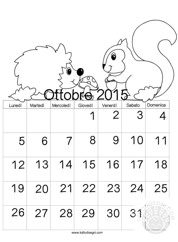 Calendario 2015 da colorare ottobre for Cip e ciop immagini da colorare